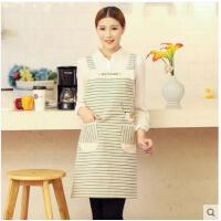 刺绣条纹时尚围裙厨房可爱卡通无袖韩版围裙 家居西餐馆幼儿园围裙