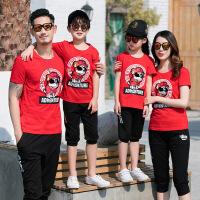 亲子装夏装2018新款一家三口母女装母子装家庭装短袖T恤 红色 妈妈M