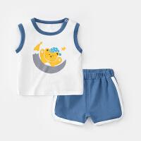 婴儿套装夏季男童无袖上衣女童背心儿童夏装宝宝短裤两件套