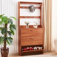 翻斗鞋柜实木色简约现代门口17cm免漆鞋柜衣架组合 组装