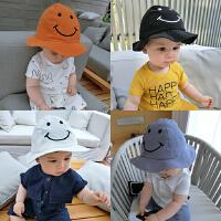 婴儿帽子夏天男女宝宝遮阳帽太阳帽笑脸盆帽沙滩海边渔夫帽宽帽檐