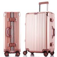 玫瑰金铝框拉杆箱20登机箱子万向轮行李箱28男女密码旅行箱包24寸 玫瑰金() 豪华铝框(方锁)