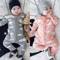 婴儿连体衣服春秋毛衣针织毛线9爬服6满月3新生儿周岁哈衣0-1岁