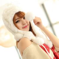 韩版潮兔毛帽子女时尚毛线帽女士保暖帽加厚帽子