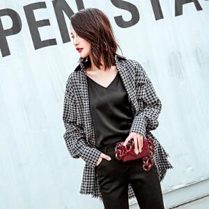 格子衬衫女装2018新款春装韩版chic毛边时尚长袖宽松百搭衬衣