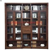 旗舰店中式实木转角书柜自由组合书架储物柜收纳柜简约书房带玻璃门书橱 0.6米以下宽