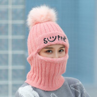 户外骑车加绒加厚针织帽女 韩版毛线帽子女 护耳帽围脖一体保暖帽子
