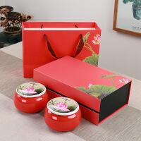 高档陶瓷茶叶罐双罐礼盒套装礼品定制密封罐子红茶创意存茶罐
