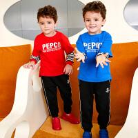 【2件3折价:105】小猪班纳童装宝宝T恤套装春秋新款男童条纹上衣运动裤儿童两件套