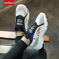 【春暖特惠价】Coolmuch女跑鞋2020新款轻便透气厚底增高蝴蝶鞋校园女生运动休闲跑鞋MX8203