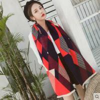 时尚围巾女韩版百搭菱形格子撞色拼接双面披肩围脖两用仿羊绒