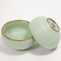 普润(PU RUN) 陶瓷故事 汝窑开片小圆杯 陶瓷品茶杯 哑光天青釉 30毫升单个价