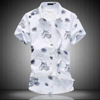 夏季韩版男士衬衫短袖日系潮流时尚碎花印花加肥大码修身棉麻衬衣
