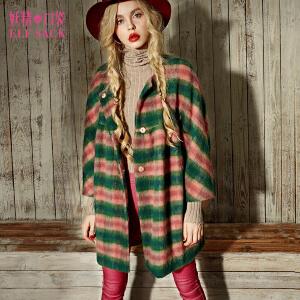 妖精的口袋少年与马匹冬装百搭甜美娃娃领外套女长款格子毛呢大衣