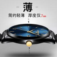 超薄时尚潮流机械精钢带石英表手表简约男士腕表学生防水男表