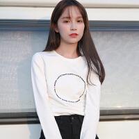 白色长袖t恤女士宽松百搭学生韩版打底小衫秋装上衣2018新款衣服