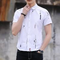 夏季男士衬衫短袖韩版修身印花商务衬衣男休闲青年薄款上衣服