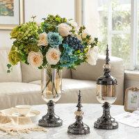 欧式美式家居装饰品玻璃花瓶花器摆件客厅仿真花干花插花套装摆设