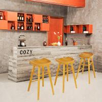 实木吧台椅北欧原木酒吧凳简约现代家用餐椅休闲单人高脚前台凳子 苹果形黑胡桃色 高45cm