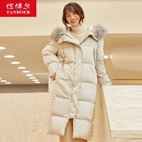 坦博尔中长款女装羽绒服冬季大毛领面包服2019新款保暖外套上衣冬
