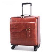 商务牛皮箱真皮拉杆箱16寸登机箱20寸万向轮行李箱24寸旅行箱男女 黄棕色