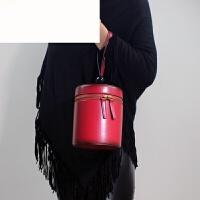 小圆包真皮女包手提包女迷你个性时尚牛皮手拎小包包简约百搭 酒红色