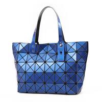 2018新款韩版纯色手提包百搭个性菱格拉链女包潮流折叠几何包 蓝色