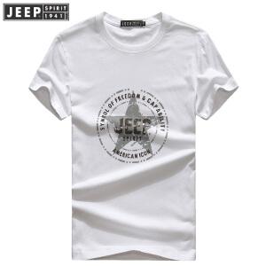 JEEP吉普正品印花T恤男2018夏装新款短袖t恤男装薄款全棉时尚休闲打底体恤衫