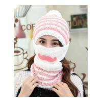 秋冬针织帽子女护耳护脖帽子口罩围脖一体可爱毛球毛线帽子三件套 均码