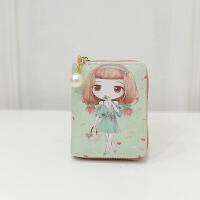 韩版小零钱包女短款零钱包卡通女孩珍珠吊坠拉链女钱包