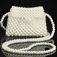 手工制作包包珠子材料半成品 diy手工制作迷你仿珍珠斜挎包材料包散珠编织串珠包包女包新款