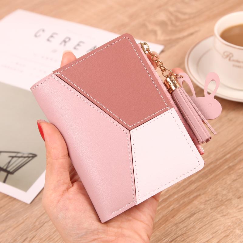 钱包女短款学生韩版可爱2019新款时尚超薄简约两折叠零钱包卡包潮