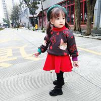 新年圣诞小猫个性卫衣套装宝宝可爱套装冬季加厚绒裙2件套