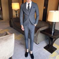 英伦西服套装男士正装新郎结婚礼服韩版休闲色西装三件套潮