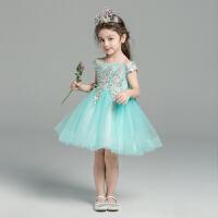 花童礼服公主裙夏季女童蓬蓬纱演出服儿童婚纱表演服
