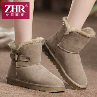 ZHR冬季新款真皮雪地靴女短筒加绒女靴子学生平底棉鞋加厚冬靴P17