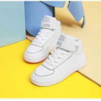 安踏�\�有�男�和�鞋高��2020新款防水皮面透�庑蓍e板鞋中大童鞋子A33038010