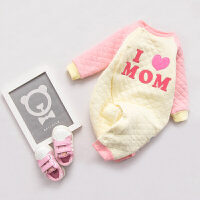女婴儿连体衣服0岁3个月5宝宝5新生儿冬装秋冬季加厚保暖内衣睡衣