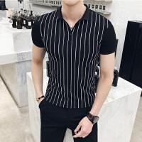 夏季新款条纹翻领polo衫男修身潮流时尚休闲保罗帅气百搭T恤小衫