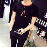 衣服男夏天学生修身圆领短袖T恤韩版潮流字母印花个性体恤��