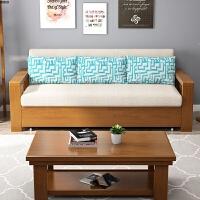 实木沙发床可折叠伸缩多功能1.8小户型客厅次卧室布艺沙发床1.5 1.5米-1.8米