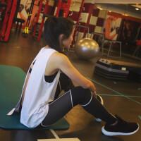 运动健身长款背心速干透气跑步瑜伽时尚开叉宽松罩衫女无袖上衣夏