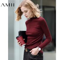 【到手价:109元】Amii极简套头内搭毛衣2019秋新款长袖黑色半高领修身针织打底衫女
