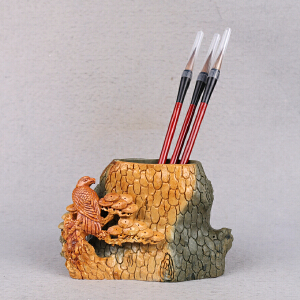 中国非物质文化遗产传承人群 钟景锐作品《松风雅韵》笔筒/摆件  绿端