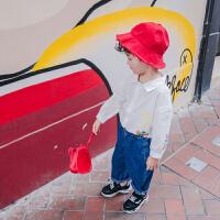 2018儿童衬衫男童棉衬衣宝宝春季新款打底衫白色中小童宝宝长袖