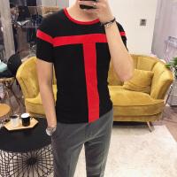 夏季男士圆领短袖T恤韩版休男士修身拼色体恤衫潮青年英伦打底衫