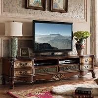 美式乡村地中海家具复古实木手工彩绘做旧电视柜茶几边几组合套系 木色 尺寸200*45*50 整装