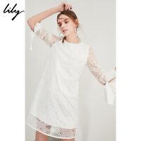【2折到手价219.8元】全场叠加100元券 Lily春夏新款女装H型白色刺绣连衣裙七分袖连衣裙118230C7105