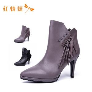 红蜻蜓2018年秋季新款纯色流苏牛皮革高跟鞋