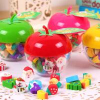可爱苹果桶装水果圣诞造型小橡皮擦 迷你橡皮 圣诞节礼物摆件平安苹果橡皮